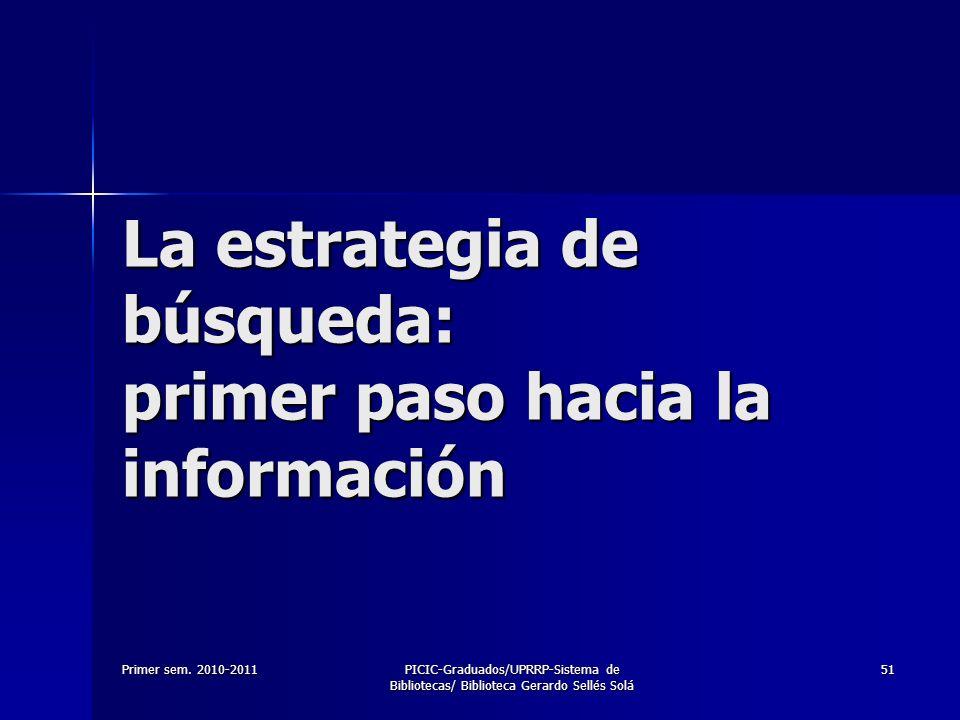 Primer sem. 2010-2011PICIC-Graduados/UPRRP-Sistema de Bibliotecas/ Biblioteca Gerardo Sellés Solá 51 La estrategia de búsqueda: primer paso hacia la i