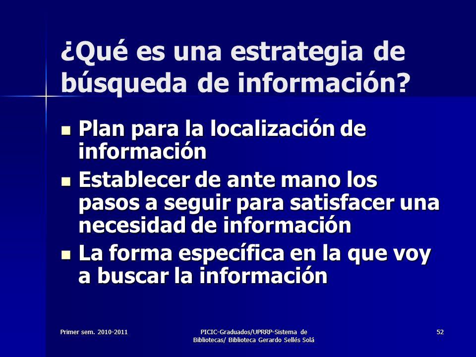 Primer sem. 2010-2011PICIC-Graduados/UPRRP-Sistema de Bibliotecas/ Biblioteca Gerardo Sellés Solá 52 ¿Qué es una estrategia de búsqueda de información