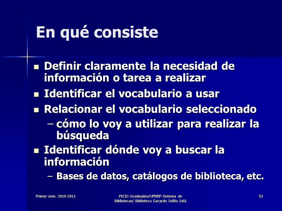 Primer sem. 2010-2011PICIC-Graduados/UPRRP-Sistema de Bibliotecas/ Biblioteca Gerardo Sellés Solá 53 En qué consiste Definir claramente la necesidad d