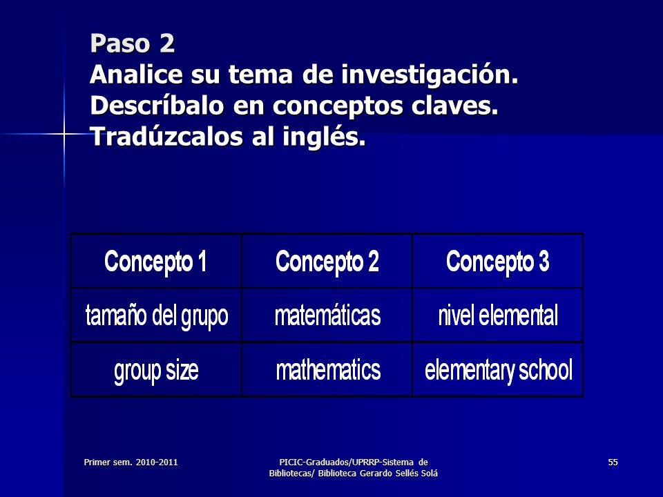 Primer sem. 2010-2011PICIC-Graduados/UPRRP-Sistema de Bibliotecas/ Biblioteca Gerardo Sellés Solá 55 Paso 2 Analice su tema de investigación. Descríba