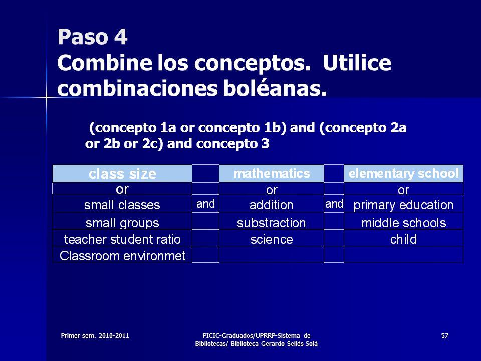 Primer sem. 2010-2011PICIC-Graduados/UPRRP-Sistema de Bibliotecas/ Biblioteca Gerardo Sellés Solá 57 Paso 4 Combine los conceptos. Utilice combinacion