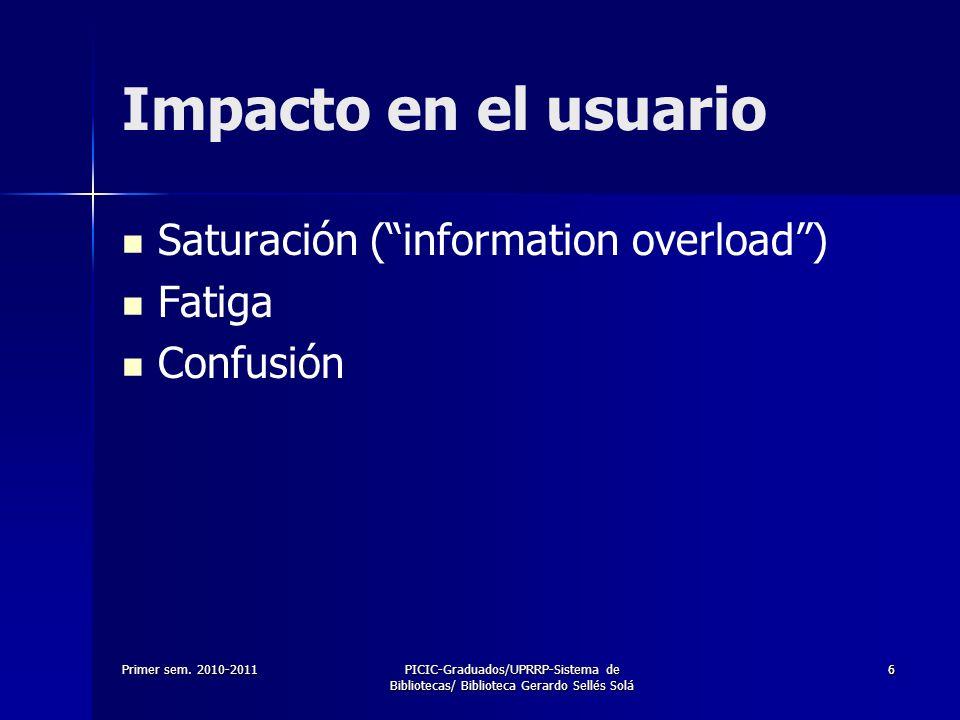 Primer sem. 2010-2011PICIC-Graduados/UPRRP-Sistema de Bibliotecas/ Biblioteca Gerardo Sellés Solá 66 Impacto en el usuario Saturación (information ove