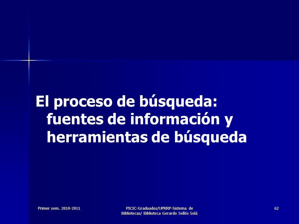 Primer sem. 2010-2011PICIC-Graduados/UPRRP-Sistema de Bibliotecas/ Biblioteca Gerardo Sellés Solá 62 El proceso de búsqueda: fuentes de información y
