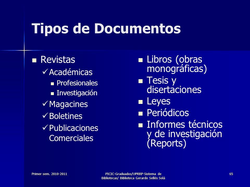 Primer sem. 2010-2011PICIC-Graduados/UPRRP-Sistema de Bibliotecas/ Biblioteca Gerardo Sellés Solá 65 Tipos de Documentos Revistas Académicas Profesion