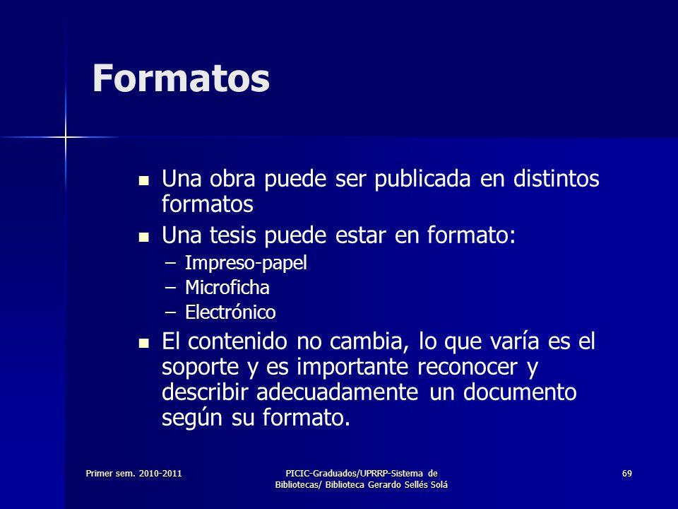 Primer sem. 2010-2011PICIC-Graduados/UPRRP-Sistema de Bibliotecas/ Biblioteca Gerardo Sellés Solá 69 Formatos Una obra puede ser publicada en distinto