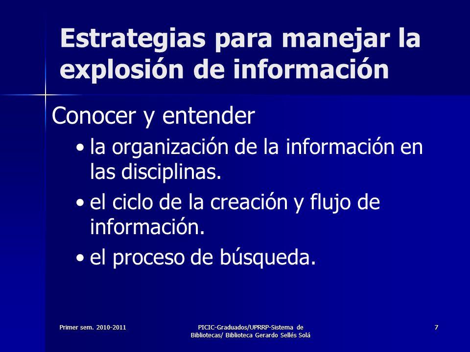 Primer sem. 2010-2011PICIC-Graduados/UPRRP-Sistema de Bibliotecas/ Biblioteca Gerardo Sellés Solá 77 Estrategias para manejar la explosión de informac
