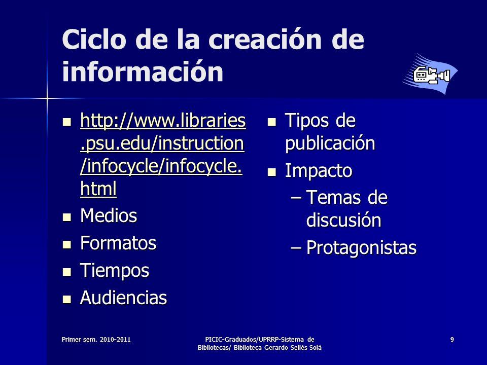 Primer sem. 2010-2011PICIC-Graduados/UPRRP-Sistema de Bibliotecas/ Biblioteca Gerardo Sellés Solá 99 Ciclo de la creación de información http://www.li