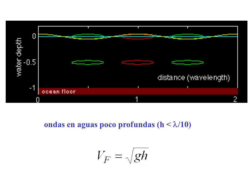 ondas en aguas poco profundas (h < /10)