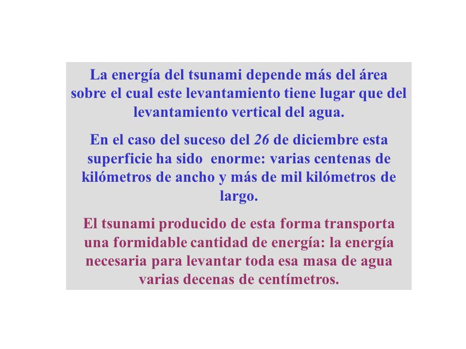 La energía del tsunami depende más del área sobre el cual este levantamiento tiene lugar que del levantamiento vertical del agua. En el caso del suces