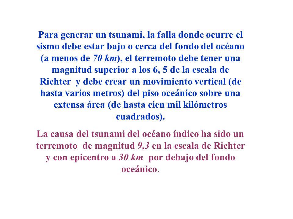 Para generar un tsunami, la falla donde ocurre el sismo debe estar bajo o cerca del fondo del océano (a menos de 70 km), el terremoto debe tener una m