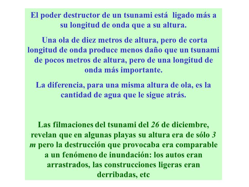 El poder destructor de un tsunami está ligado más a su longitud de onda que a su altura. Una ola de diez metros de altura, pero de corta longitud de o