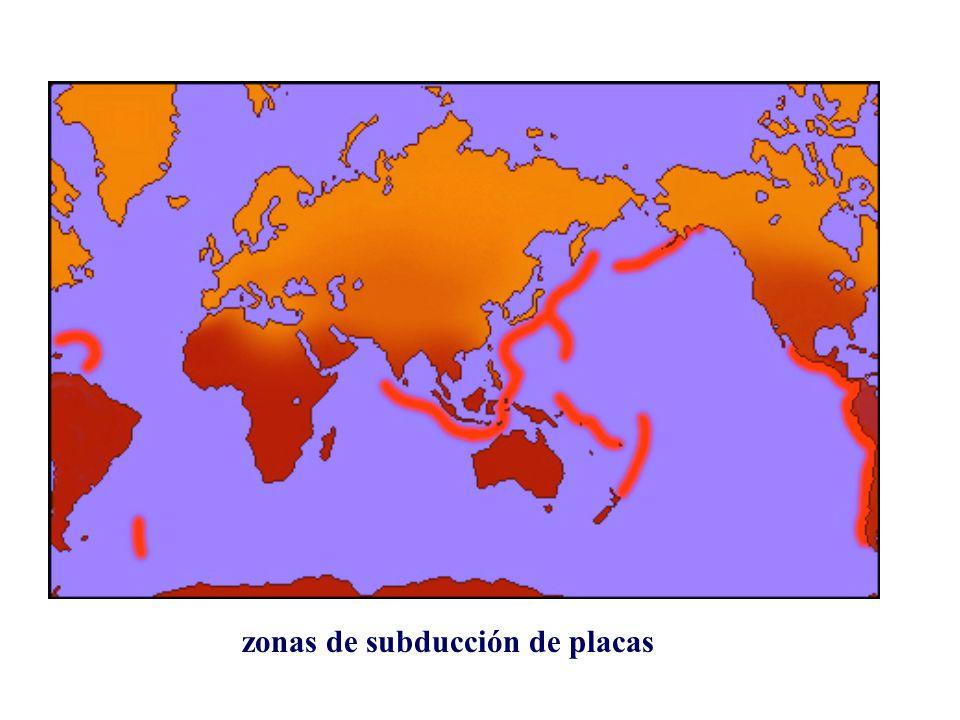 zonas de subducción de placas