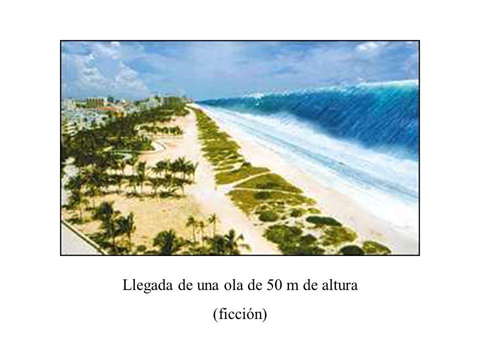 Llegada de una ola de 50 m de altura (ficción)