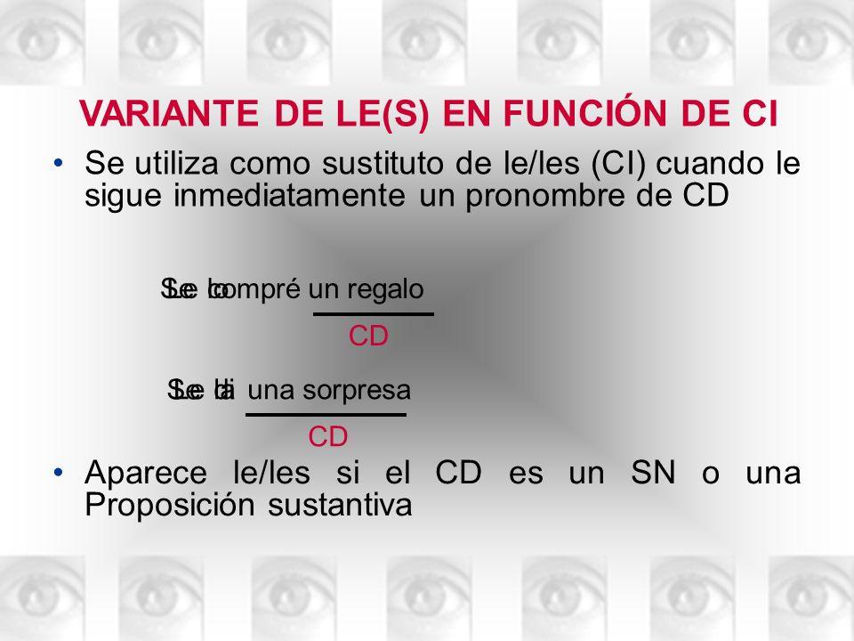 VARIANTE DE LE(S) EN FUNCIÓN DE CI Se utiliza como sustituto de le/les (CI) cuando le sigue inmediatamente un pronombre de CD Lecompréun regalo CD Se