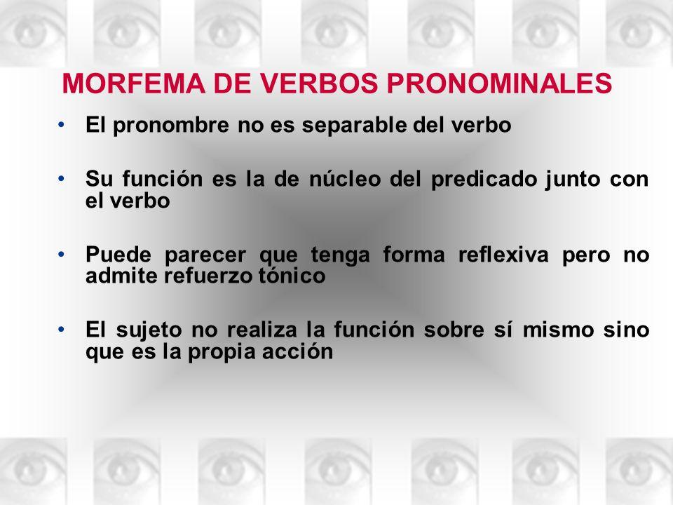MORFEMA DE VERBOS PRONOMINALES El pronombre no es separable del verbo Su función es la de núcleo del predicado junto con el verbo Puede parecer que te