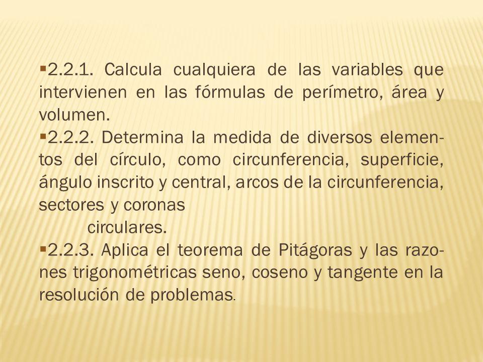 2.2.1. Calcula cualquiera de las variables que intervienen en las fórmulas de perímetro, área y volumen. 2.2.2. Determina la medida de diversos elemen