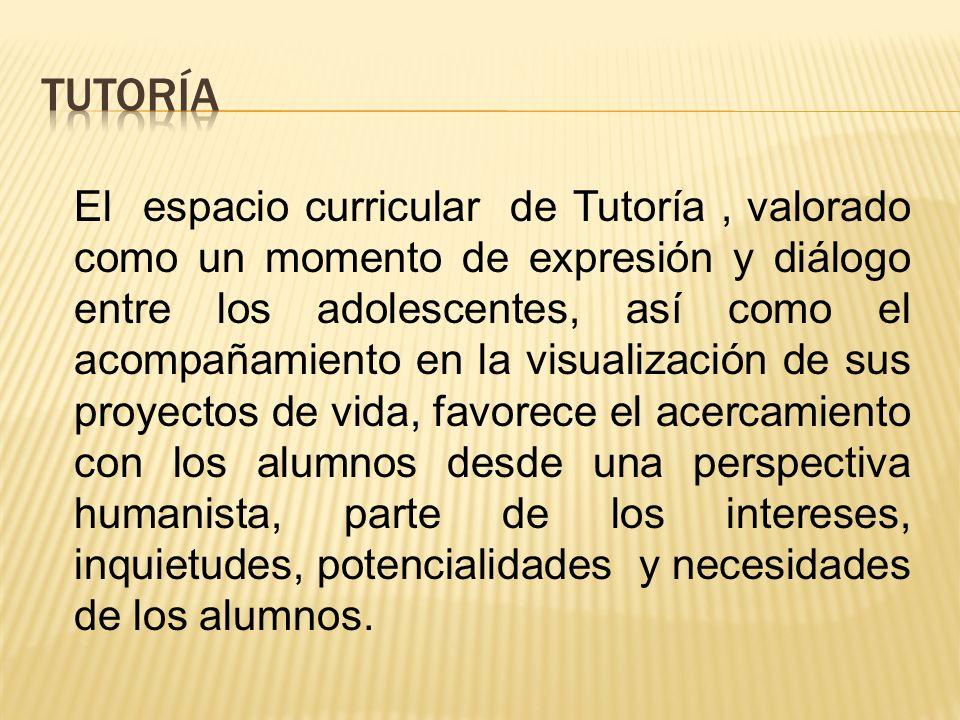 El espacio curricular de Tutoría, valorado como un momento de expresión y diálogo entre los adolescentes, así como el acompañamiento en la visualizaci