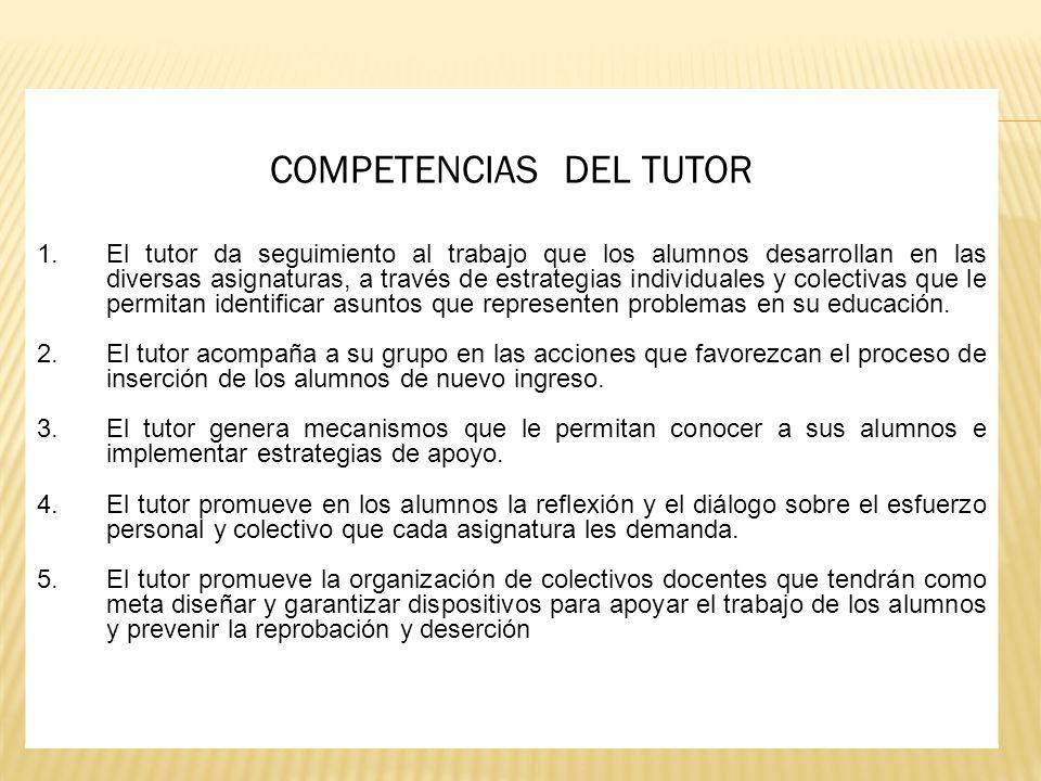 COMPETENCIAS DEL TUTOR 1.El tutor da seguimiento al trabajo que los alumnos desarrollan en las diversas asignaturas, a través de estrategias individua