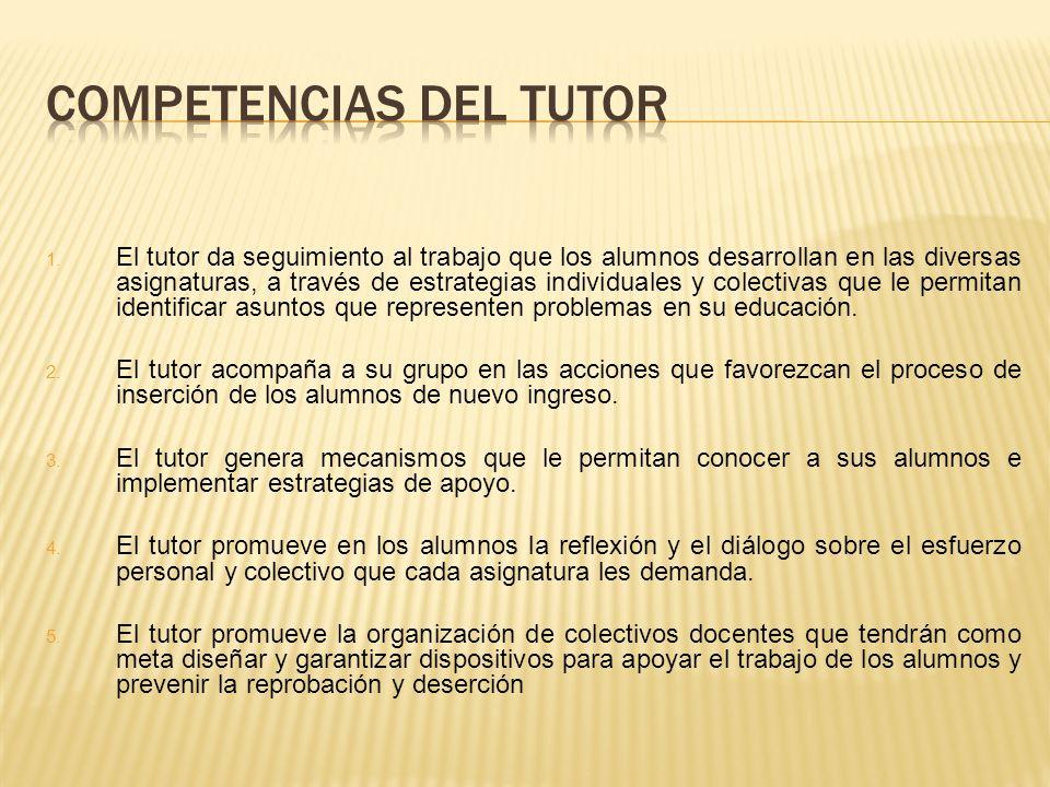 1. El tutor da seguimiento al trabajo que los alumnos desarrollan en las diversas asignaturas, a través de estrategias individuales y colectivas que l