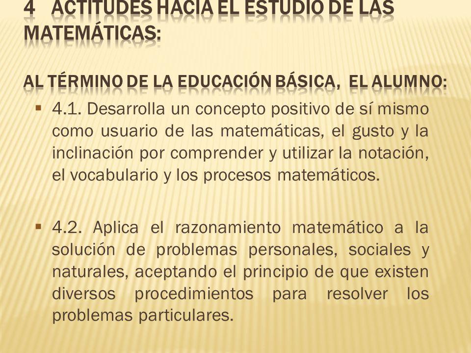 4.1. Desarrolla un concepto positivo de sí mismo como usuario de las matemáticas, el gusto y la inclinación por comprender y utilizar la notación, el