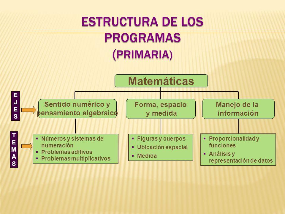 ESTRUCTURA DE LOS PROGRAMAS ( PRIMARIA) Figuras y cuerpos Ubicación espacial Medida Proporcionalidad y funciones Análisis y representación de datos EJ