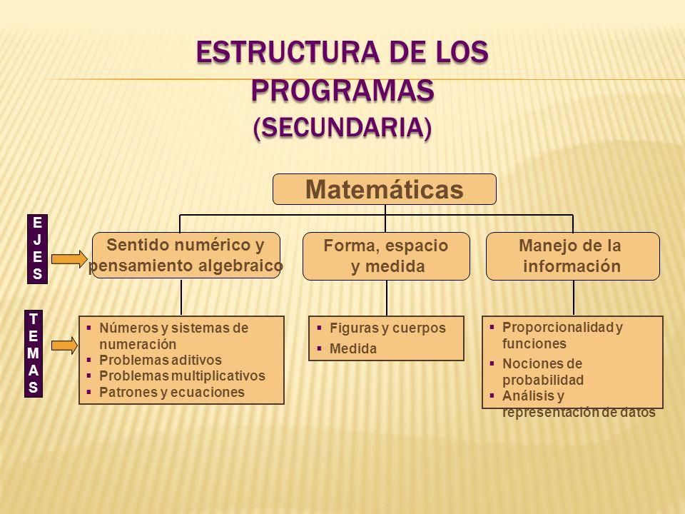 Figuras y cuerpos Medida Proporcionalidad y funciones Nociones de probabilidad Análisis y representación de datos EJESEJES TEMASTEMAS Matemáticas Sent