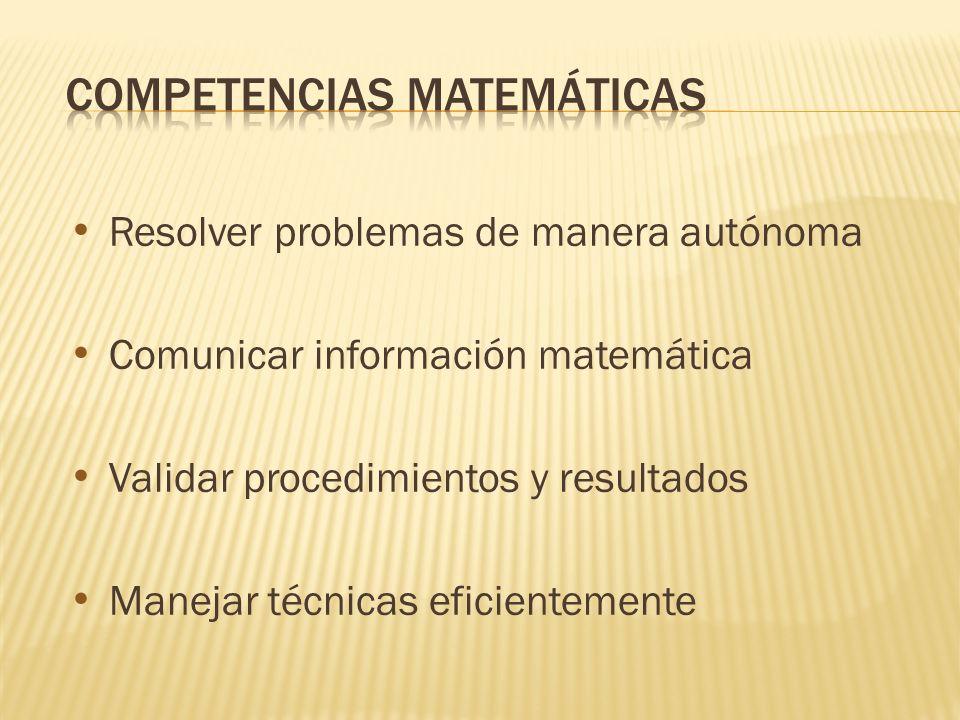Resolver problemas de manera autónoma Comunicar información matemática Validar procedimientos y resultados Manejar técnicas eficientemente