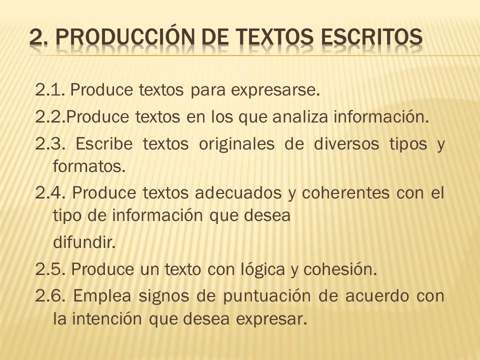 2.1. Produce textos para expresarse. 2.2.Produce textos en los que analiza información. 2.3. Escribe textos originales de diversos tipos y formatos. 2