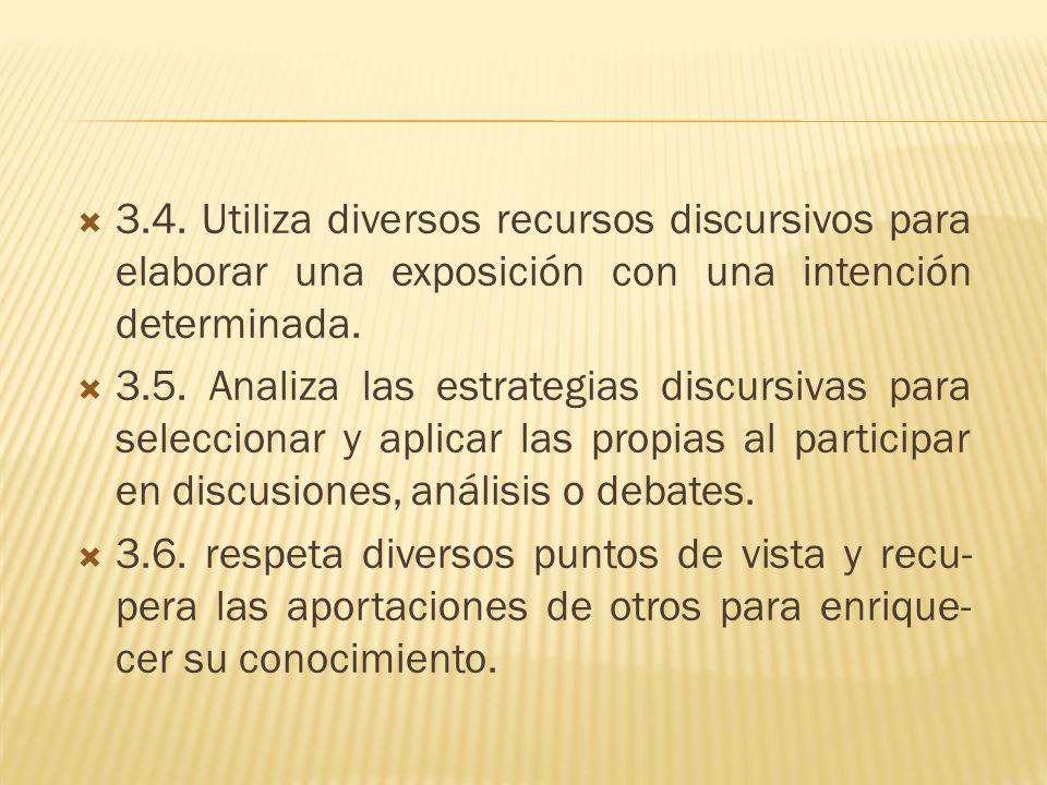 3.4. Utiliza diversos recursos discursivos para elaborar una exposición con una intención determinada. 3.5. Analiza las estrategias discursivas para s