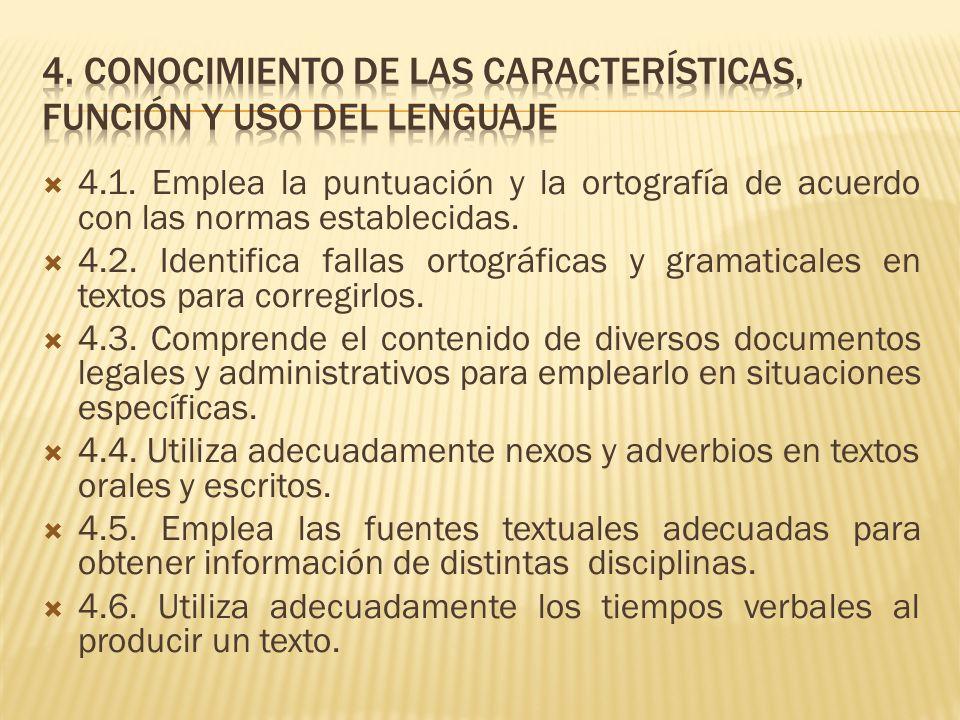 4.1. Emplea la puntuación y la ortografía de acuerdo con las normas establecidas. 4.2. Identifica fallas ortográficas y gramaticales en textos para co