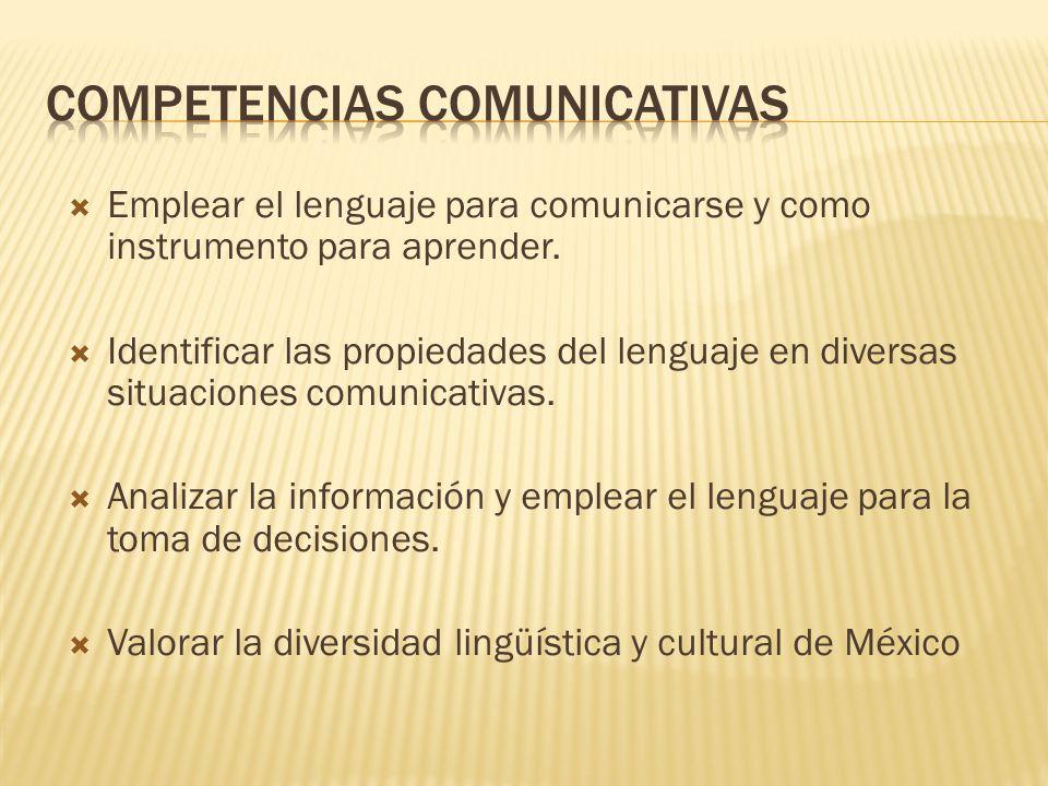 Emplear el lenguaje para comunicarse y como instrumento para aprender. Identificar las propiedades del lenguaje en diversas situaciones comunicativas.