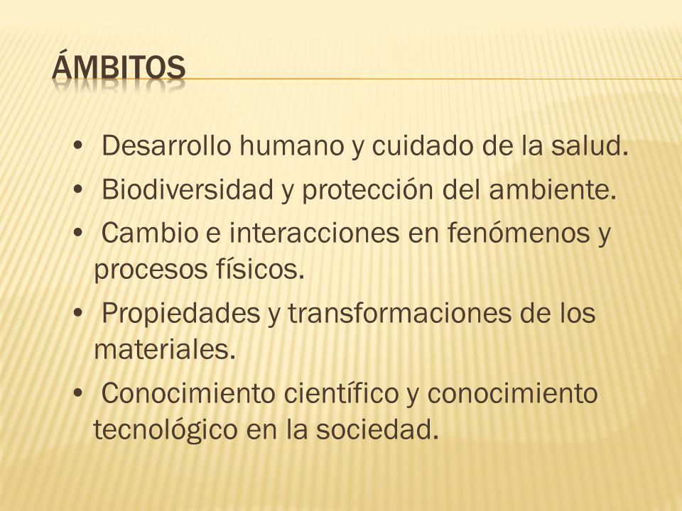 Desarrollo humano y cuidado de la salud. Biodiversidad y protección del ambiente. Cambio e interacciones en fenómenos y procesos físicos. Propiedades
