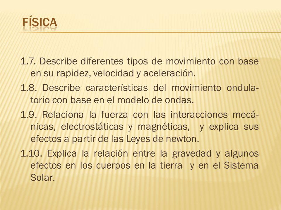1.7. Describe diferentes tipos de movimiento con base en su rapidez, velocidad y aceleración. 1.8. Describe características del movimiento ondula- tor