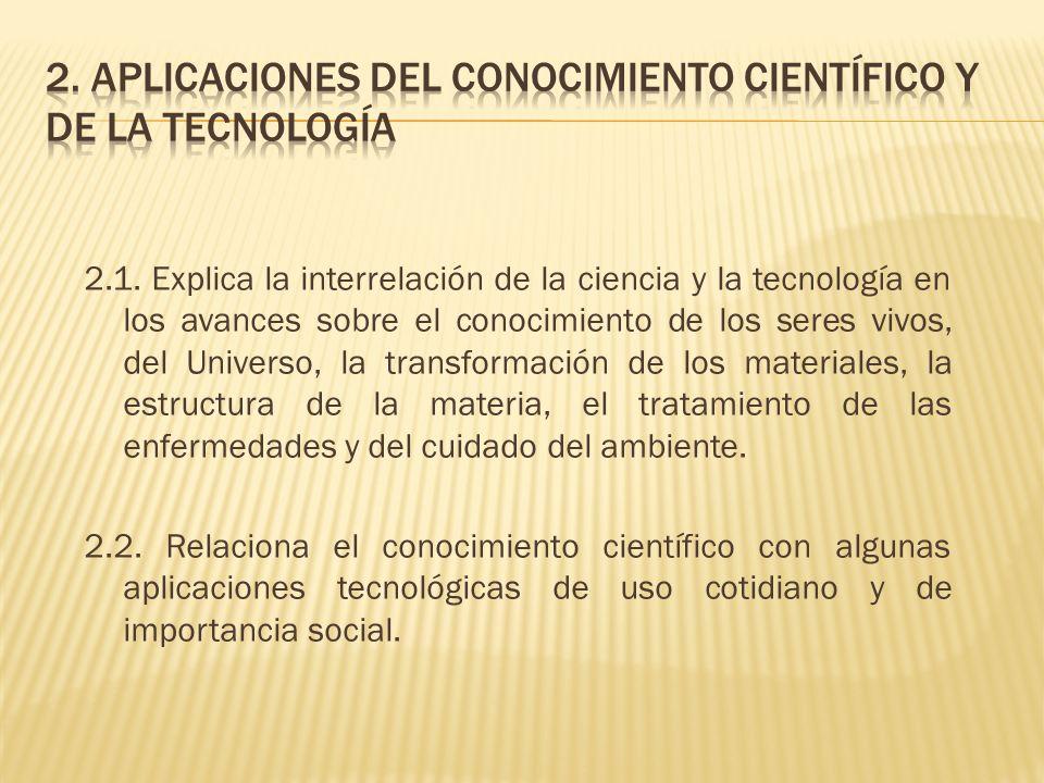 2.1. Explica la interrelación de la ciencia y la tecnología en los avances sobre el conocimiento de los seres vivos, del Universo, la transformación d
