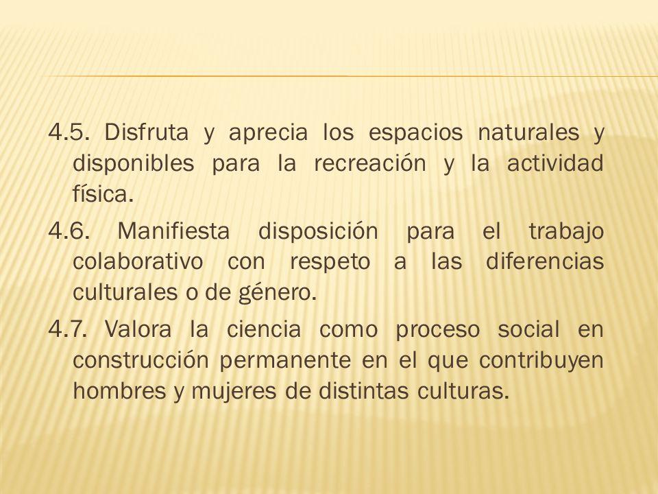 4.5. Disfruta y aprecia los espacios naturales y disponibles para la recreación y la actividad física. 4.6. Manifiesta disposición para el trabajo col