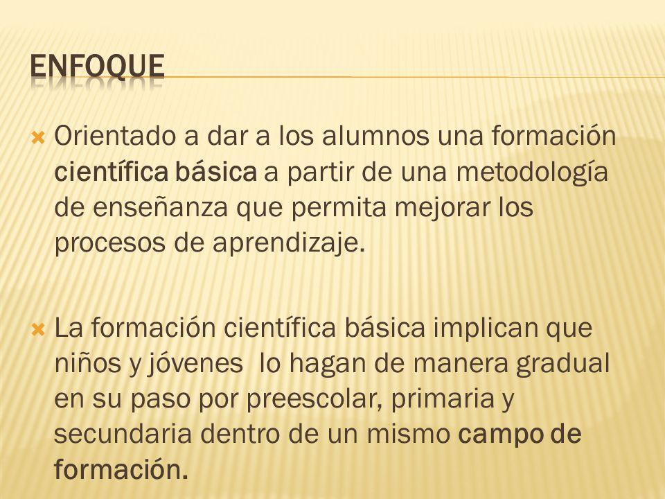 Orientado a dar a los alumnos una formación científica básica a partir de una metodología de enseñanza que permita mejorar los procesos de aprendizaje