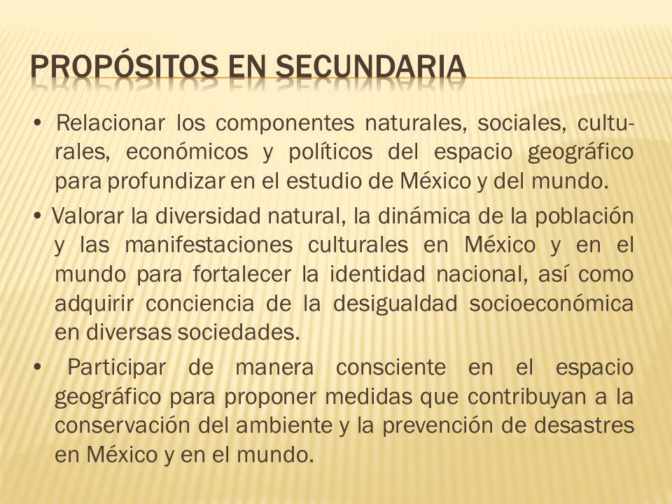 Relacionar los componentes naturales, sociales, cultu- rales, económicos y políticos del espacio geográfico para profundizar en el estudio de México y