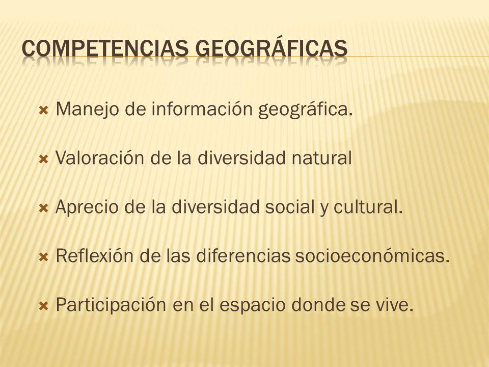 Manejo de información geográfica. Valoración de la diversidad natural Aprecio de la diversidad social y cultural. Reflexión de las diferencias socioec