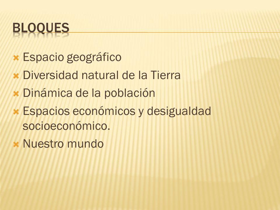 Espacio geográfico Diversidad natural de la Tierra Dinámica de la población Espacios económicos y desigualdad socioeconómico. Nuestro mundo