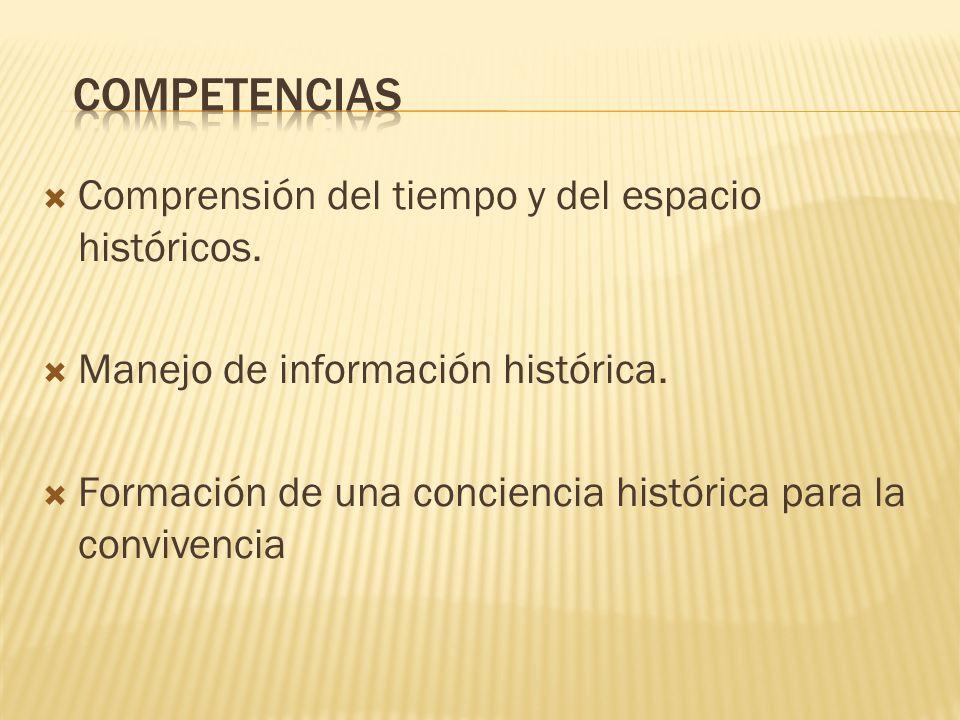 Comprensión del tiempo y del espacio históricos. Manejo de información histórica. Formación de una conciencia histórica para la convivencia