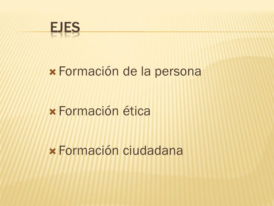 Formación de la persona Formación ética Formación ciudadana