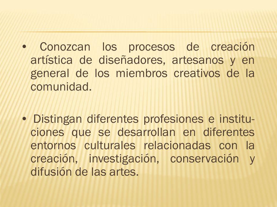 Conozcan los procesos de creación artística de diseñadores, artesanos y en general de los miembros creativos de la comunidad. Distingan diferentes pro