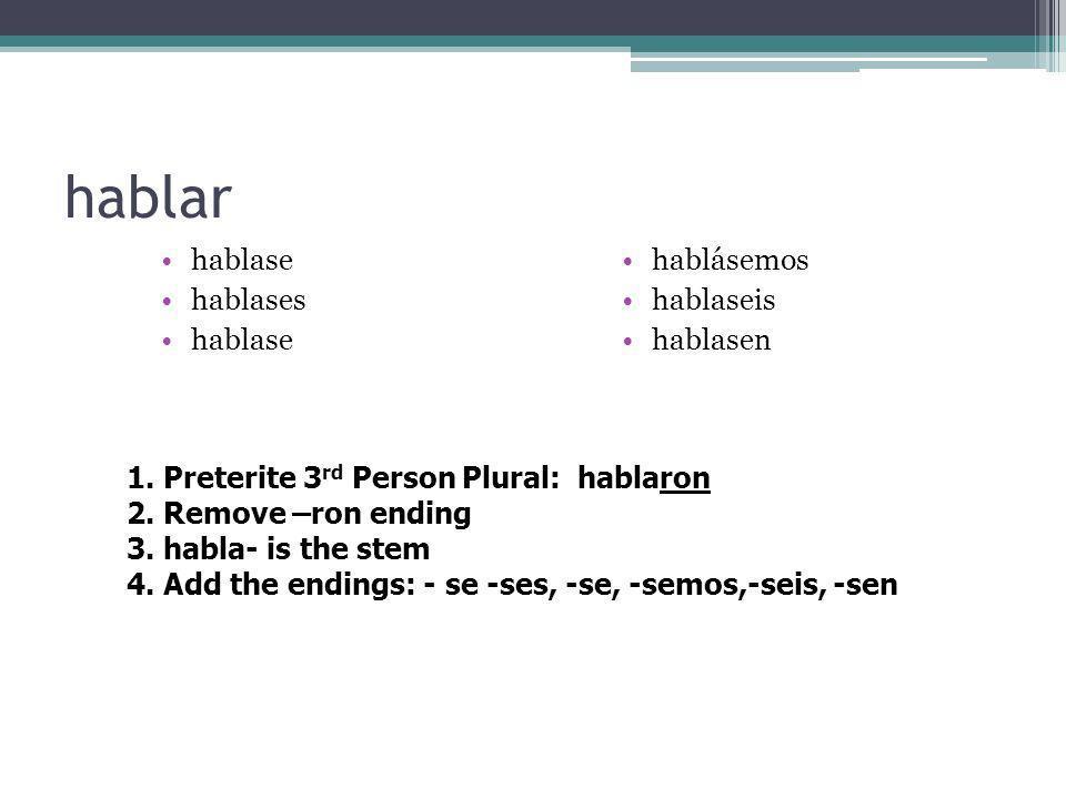 Subjunctive endings – -ar,-er,-ir verbs -se -ses -se -semos -seis -sen