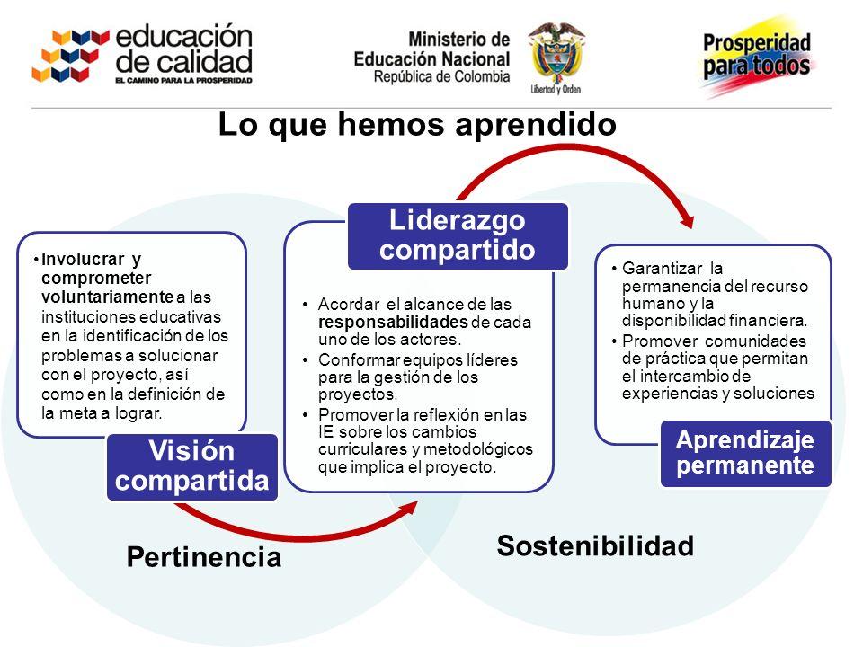 Pertinencia Sostenibilidad Lo que hemos aprendido Involucrar y comprometer voluntariamente a las instituciones educativas en la identificación de los