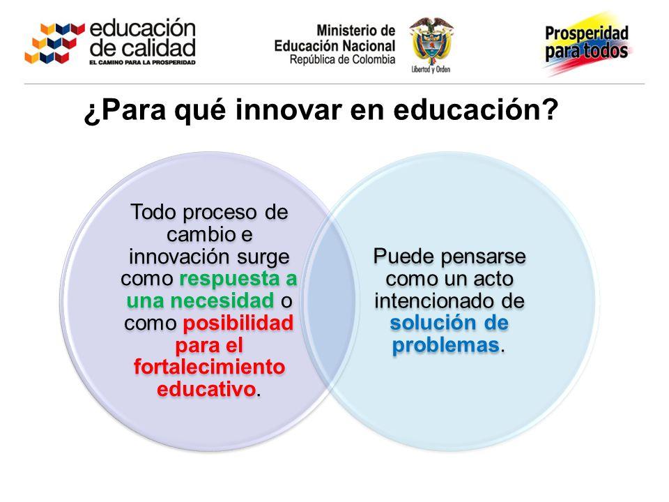 Todo proceso de cambio e innovación surge como respuesta a una necesidad o como posibilidad para el fortalecimiento educativo. Puede pensarse como un