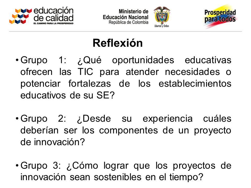 Reflexión Grupo 1: ¿Qué oportunidades educativas ofrecen las TIC para atender necesidades o potenciar fortalezas de los establecimientos educativos de