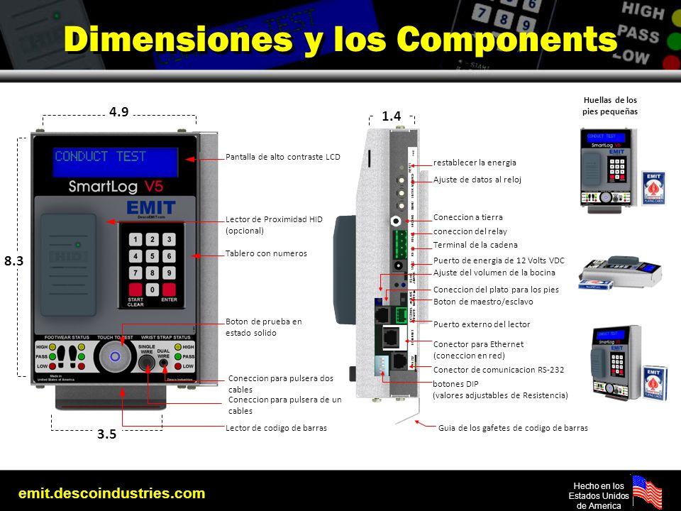 emit.descoindustries.com Hecho en los Estados Unidos de America Dimensiones y los Components restablecer la energia Ajuste de datos al reloj Coneccion