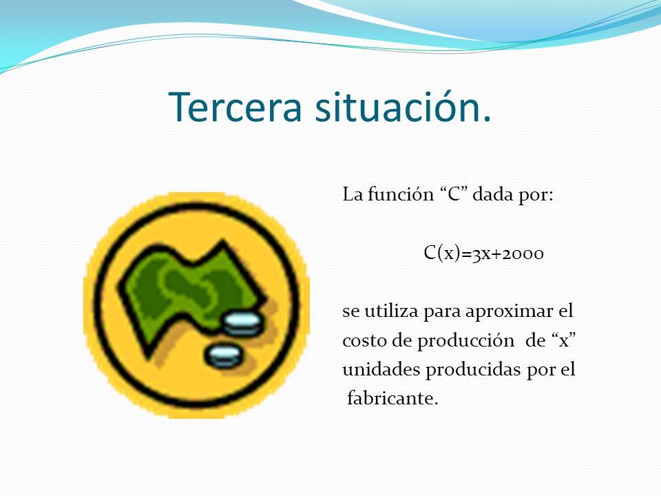 Tercera situación. La función C dada por: C(x)=3x+2000 se utiliza para aproximar el costo de producción de x unidades producidas por el fabricante.