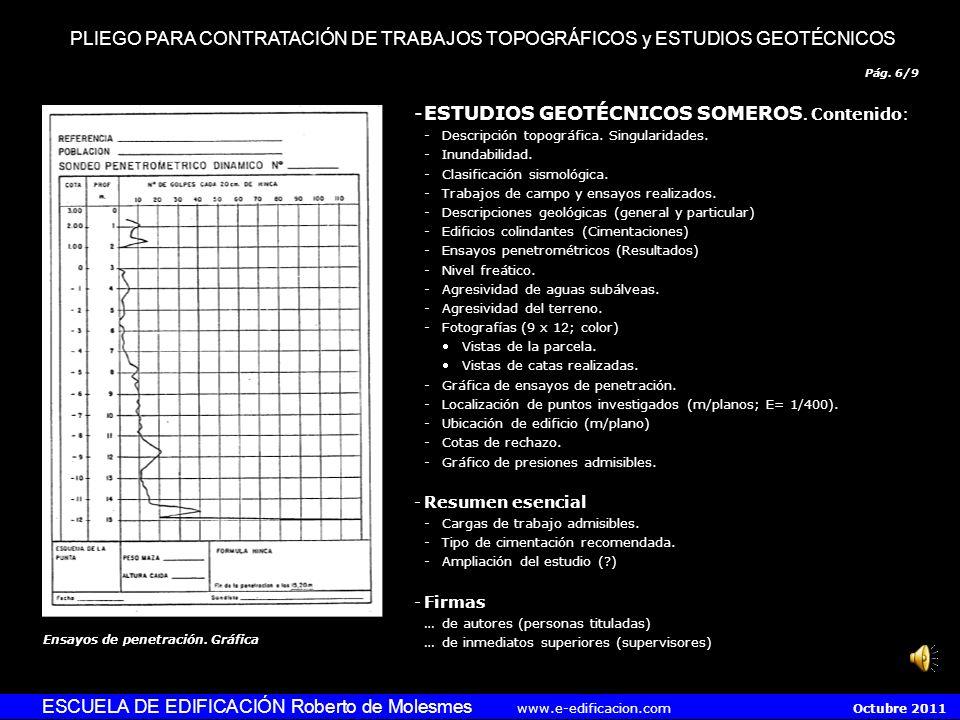 Pág. 5/9 ESCUELA DE EDIFICACIÓN Roberto de Molesmes www.e-edificacion.com Octubre 2011 -Planos topográficos (E= 1/200). Contenido: -Situación (s/casco