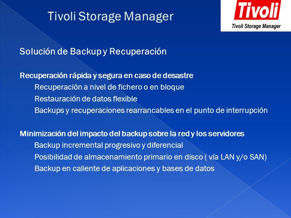 Solución de Backup y Recuperación Recuperación rápida y segura en caso de desastre Recuperación a nivel de fichero o en bloque Restauración de datos f